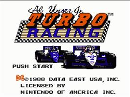 Title screen of Al Unser Jr. Turbo Racing on the Nintendo NES.