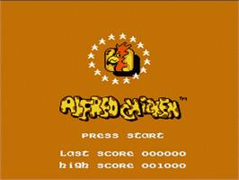 Title screen of Alfred Chicken on the Nintendo NES.