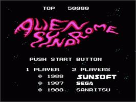 Title screen of Alien Syndrome on the Nintendo NES.