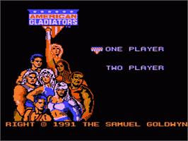 Title screen of American Gladiators on the Nintendo NES.