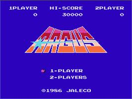 Title screen of Argus on the Nintendo NES.