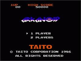 Title screen of Arkanoid on the Nintendo NES.