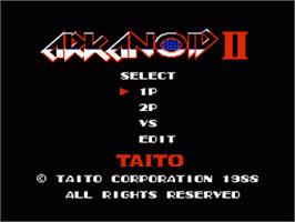Title screen of Arkanoid - Revenge of DOH on the Nintendo NES.