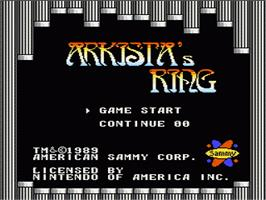 Title screen of Arkista's Ring on the Nintendo NES.