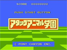 Title screen of Attack Animal Gakuen on the Nintendo NES.