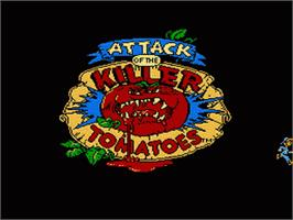 Title screen of Attack of the Killer Tomatoes on the Nintendo NES.