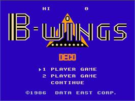 Title screen of B-Wings on the Nintendo NES.