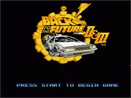 Title screen of Back to the Future 2 & 3 on the Nintendo NES.