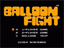 Title screen of Balloon Fight on the Nintendo NES.