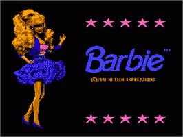 Title screen of Barbie on the Nintendo NES.