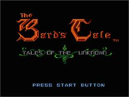 Title screen of Bard's Tale: Tales of the Unknown on the Nintendo NES.