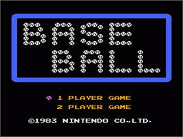 Title screen of Baseball on the Nintendo NES.
