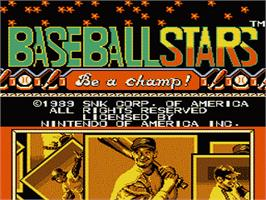 Title screen of Baseball Stars on the Nintendo NES.