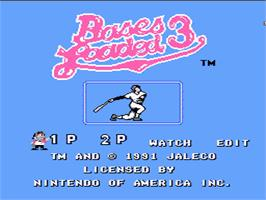 Title screen of Bases Loaded 3 on the Nintendo NES.