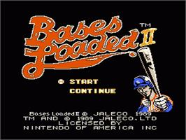 Title screen of Bases Loaded II: Second Season on the Nintendo NES.