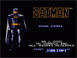 Title screen of Batman: The Video Game on the Nintendo NES.
