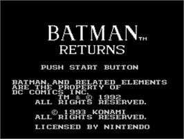 Title screen of Batman Returns on the Nintendo NES.