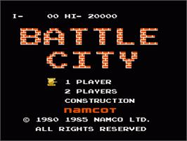 Title screen of Battle City on the Nintendo NES.