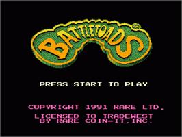Title screen of Battle Toads on the Nintendo NES.
