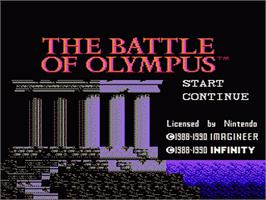Title screen of Battle of Olympus on the Nintendo NES.