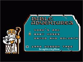 Title screen of Bible Adventures on the Nintendo NES.