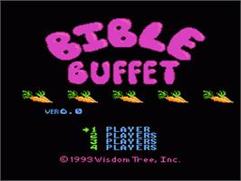 Title screen of Bible Buffet on the Nintendo NES.
