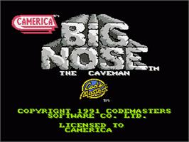 Title screen of Big Nose the Caveman on the Nintendo NES.