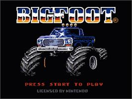 Title screen of Bigfoot on the Nintendo NES.