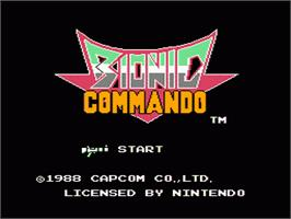 Title screen of Bionic Commando on the Nintendo NES.
