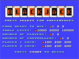 Title screen of Blackjack on the Nintendo NES.
