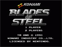 Title screen of Blades of Steel on the Nintendo NES.