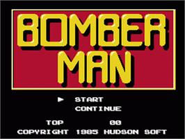Title screen of Bomberman on the Nintendo NES.