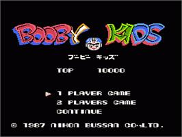 Title screen of Booby Kids on the Nintendo NES.