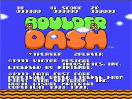Title screen of Boulder Dash on the Nintendo NES.