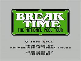 Title screen of Break Time: The National Pool Tour on the Nintendo NES.