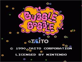 Title screen of Bubble Bobble on the Nintendo NES.