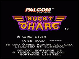 Title screen of Bucky O'Hare on the Nintendo NES.