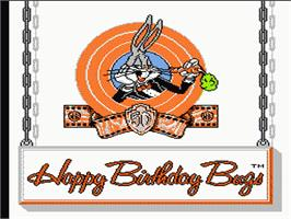Title screen of Bugs Bunny Birthday Blowout on the Nintendo NES.
