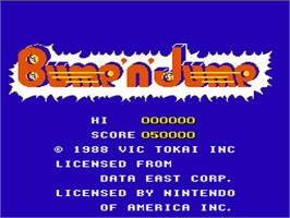 Title screen of Bump 'n' Jump on the Nintendo NES.