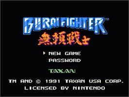 Title screen of Burai Fighter on the Nintendo NES.