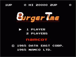 Title screen of Burger Time on the Nintendo NES.
