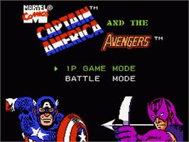 Title screen of Captain America and The Avengers on the Nintendo NES.