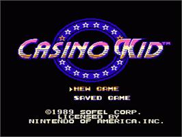 Title screen of Casino Kid on the Nintendo NES.