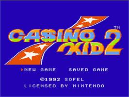 Title screen of Casino Kid 2 on the Nintendo NES.