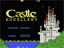 Title screen of Castle Excellent on the Nintendo NES.