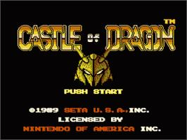 Title screen of Castle of Dragon on the Nintendo NES.