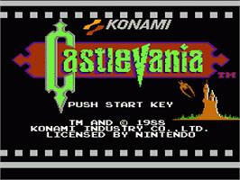 Title screen of Castlevania on the Nintendo NES.