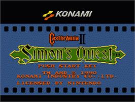 Title screen of Castlevania 2: Simon's Quest on the Nintendo NES.