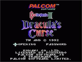 Title screen of Castlevania III: Dracula's Curse on the Nintendo NES.
