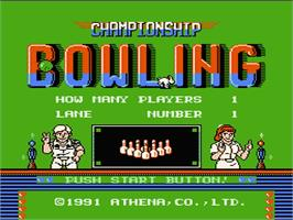 Title screen of Championship Bowling on the Nintendo NES.